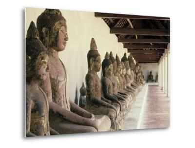 Stone Buddha Images from the Ayutthaya Period in the Cloister--Metal Print