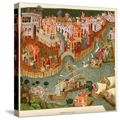 Venice, 1338, after a Manuscript in the Bodleian Library, from 'A Short History of the English…--Stretched Canvas Print
