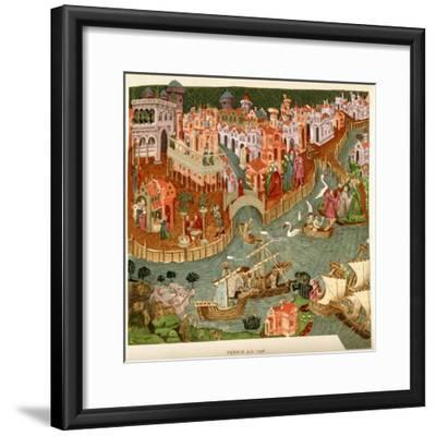 Venice, 1338, after a Manuscript in the Bodleian Library, from 'A Short History of the English…--Framed Giclee Print
