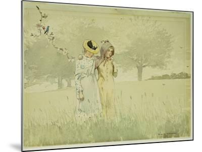 Girls Strolling in an Orchard, 1879-Winslow Homer-Mounted Giclee Print