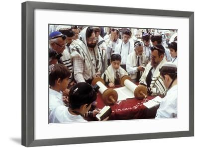 A Boy Reading the Torah During His Bar Mitzvah--Framed Photographic Print