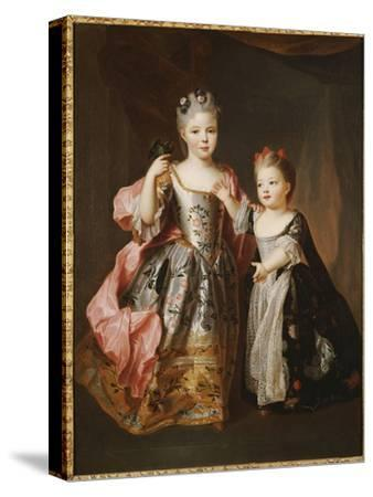 Portrait of Two Young Girls, Said to Be Adelaide and Victoire, Daughters of Louis Xv-Alexis Simon Belle-Stretched Canvas Print