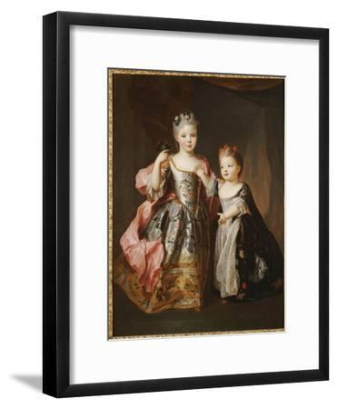 Portrait of Two Young Girls, Said to Be Adelaide and Victoire, Daughters of Louis Xv-Alexis Simon Belle-Framed Giclee Print