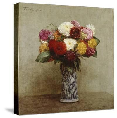 Dahlias in a Chinese Vase, 1874-Henri Fantin-Latour-Stretched Canvas Print
