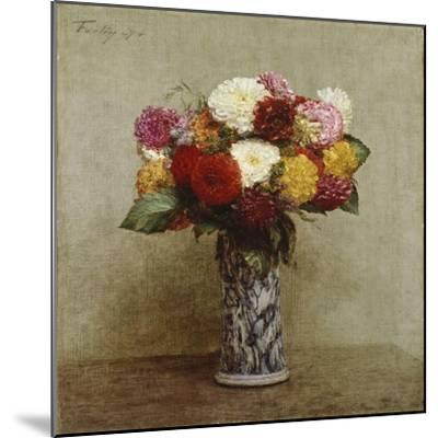 Dahlias in a Chinese Vase, 1874-Henri Fantin-Latour-Mounted Giclee Print