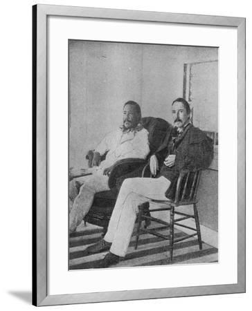 Robert Louis Stevenson with King Kalakaua of Hawaii on the Verandah of the Royal Boat House at…--Framed Photographic Print
