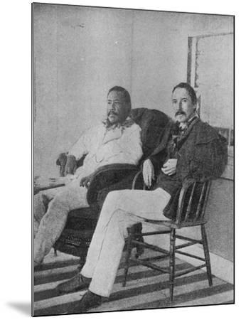 Robert Louis Stevenson with King Kalakaua of Hawaii on the Verandah of the Royal Boat House at…--Mounted Photographic Print