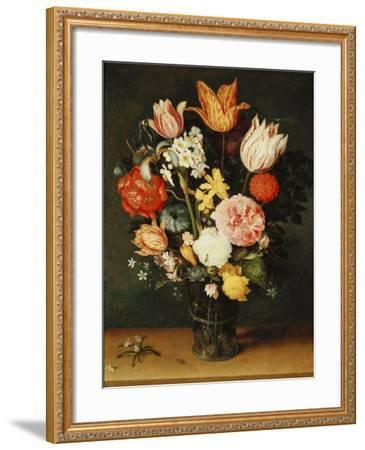 Tulips, Roses and Other Flowers in a Glass Vase-Balthasar van der Ast-Framed Giclee Print