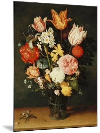 Tulips, Roses and Other Flowers in a Glass Vase-Balthasar van der Ast-Mounted Giclee Print
