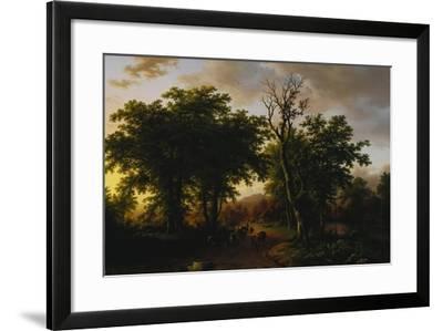 Travellers on a Path at Sunset-Barend Cornelis Koekkoek-Framed Giclee Print