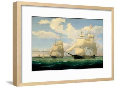 The Ships 'Winged Arrow' and 'Southern Cross' in Boston Harbour, 1853-Fitz Henry Lane-Framed Giclee Print