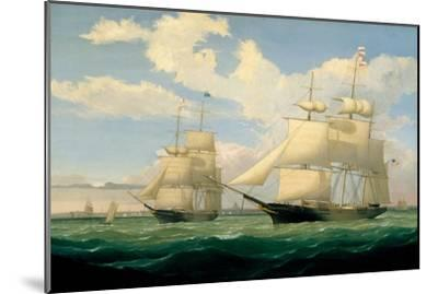 The Ships 'Winged Arrow' and 'Southern Cross' in Boston Harbour, 1853-Fitz Henry Lane-Mounted Giclee Print