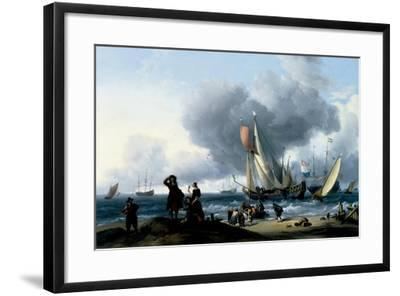 Dutchmen Embarking onto a Yacht, C.1670-Ludolf Backhuysen-Framed Giclee Print