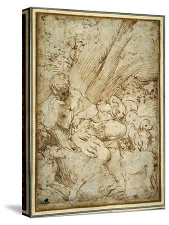 Shepherd Boy Holding a Pipe, Resting under a Tree with His Dog Among their Flock-Parmigianino-Stretched Canvas Print