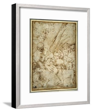Shepherd Boy Holding a Pipe, Resting under a Tree with His Dog Among their Flock-Parmigianino-Framed Giclee Print