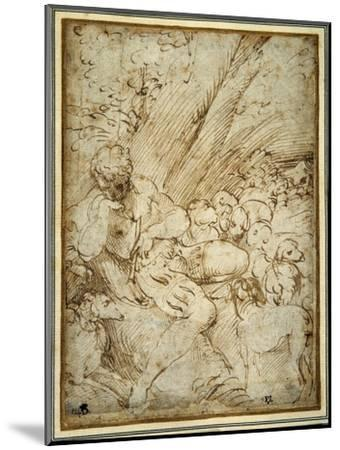 Shepherd Boy Holding a Pipe, Resting under a Tree with His Dog Among their Flock-Parmigianino-Mounted Giclee Print