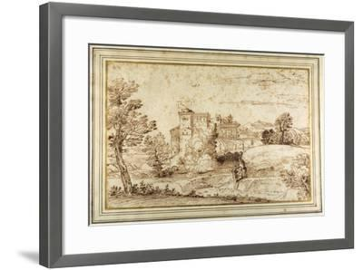 Landscape with a Castle and the Ruins of a Classical Portico-Annibale Carracci-Framed Giclee Print