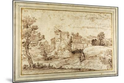 Landscape with a Castle and the Ruins of a Classical Portico-Annibale Carracci-Mounted Giclee Print