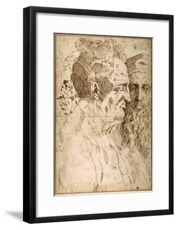 Three Male Heads Juxtaposed-Baccio Bandinelli-Framed Giclee Print