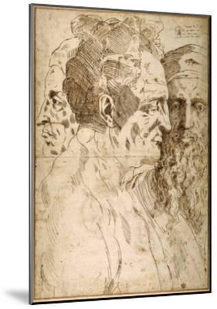 Three Male Heads Juxtaposed-Baccio Bandinelli-Mounted Giclee Print