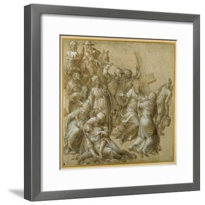 Christ Bearing His Cross Encounters St Veronica-Lavinia Fontana-Framed Giclee Print