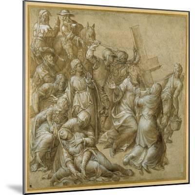 Christ Bearing His Cross Encounters St Veronica-Lavinia Fontana-Mounted Giclee Print