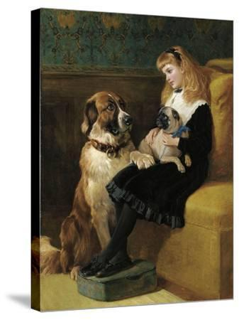 Her Only Playmates, 1870-Heywood Hardy-Stretched Canvas Print