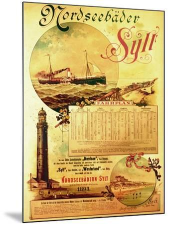Sylt North Sea Baths', Poster Advertising the Sylt Steamship Company, 1893-German School-Mounted Giclee Print