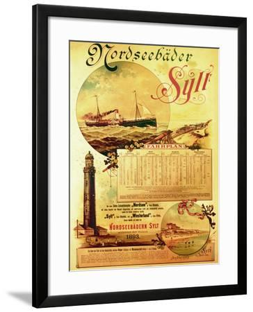 Sylt North Sea Baths', Poster Advertising the Sylt Steamship Company, 1893-German School-Framed Giclee Print