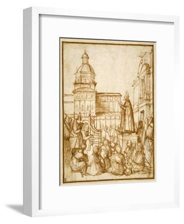 St. Mark Preaching in the Piazza-Lattanzio da Rimini-Framed Giclee Print