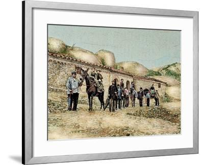 Hikers in San Jeronimo, Montserrat, Catalonia, Spain, from 'The Illustration', 1890-L. Urgelles-Framed Giclee Print