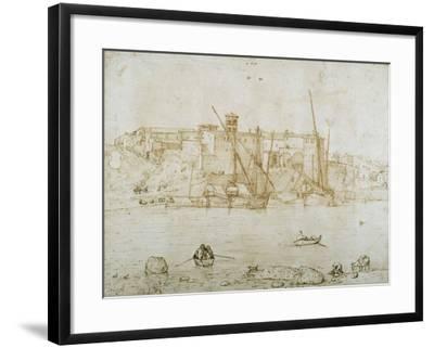 View of the Ripa Grande, Rome, C.1552-Pieter Bruegel the Elder-Framed Giclee Print