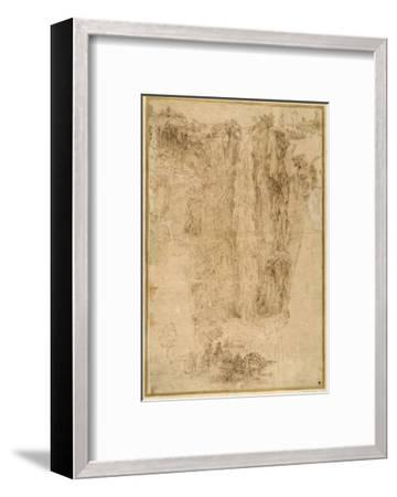 Landscape with a Cascade; at the Foot, Two Men, One Mounted-Domenichino-Framed Giclee Print