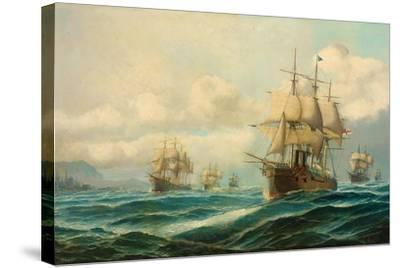 Vice-Admiral Phipps Hornby's Squadron Steaming Through the Dardanelles on Passage to…-David James-Stretched Canvas Print