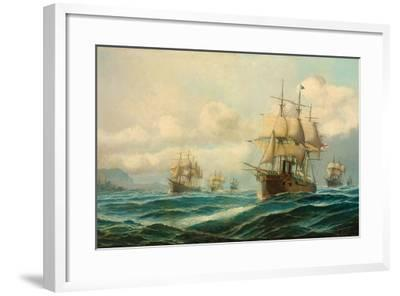 Vice-Admiral Phipps Hornby's Squadron Steaming Through the Dardanelles on Passage to…-David James-Framed Giclee Print