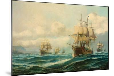 Vice-Admiral Phipps Hornby's Squadron Steaming Through the Dardanelles on Passage to…-David James-Mounted Giclee Print