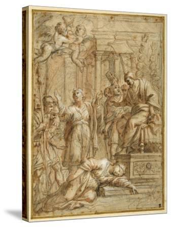 St. Bibiana Lies Martyred before the Prefect Apronianus-Pietro Da Cortona-Stretched Canvas Print
