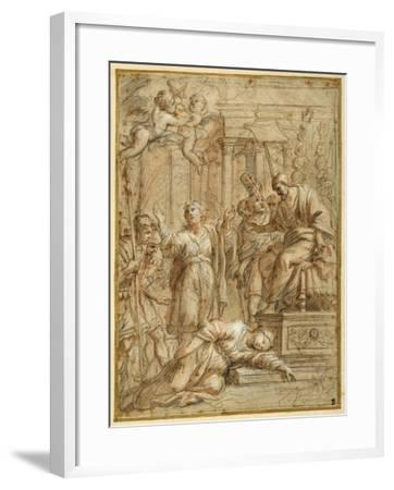 St. Bibiana Lies Martyred before the Prefect Apronianus-Pietro Da Cortona-Framed Giclee Print