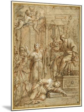 St. Bibiana Lies Martyred before the Prefect Apronianus-Pietro Da Cortona-Mounted Giclee Print