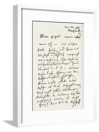 Letter from Beethoven to 'The Immortal Beloved'-Ludwig Van Beethoven-Framed Premium Giclee Print