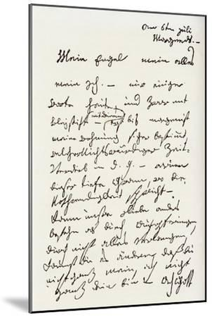 Letter from Beethoven to 'The Immortal Beloved'-Ludwig Van Beethoven-Mounted Premium Giclee Print
