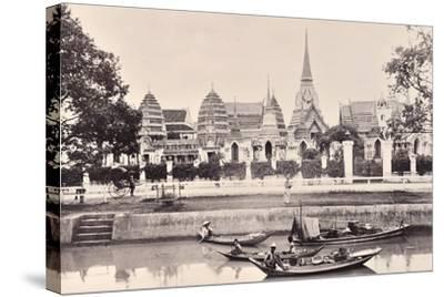 View of a Canal in Bangkok, C.1890-Robert Lenz-Stretched Canvas Print