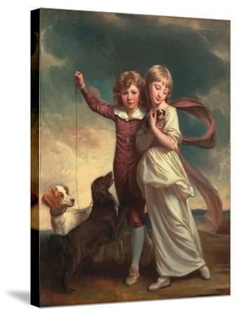 Thomas John Clavering and Catherine Mary Clavering: the Clavering Children, 1777-George Romney-Stretched Canvas Print
