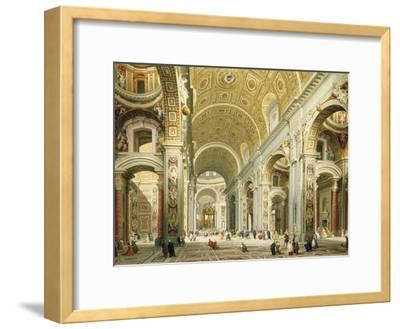 Interior of Saint Peter's Rome, Looking West Towards the Tomb of St. Peter-Giovanni Paolo Panini-Framed Giclee Print