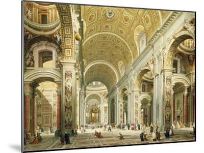 Interior of Saint Peter's Rome, Looking West Towards the Tomb of St. Peter-Giovanni Paolo Panini-Mounted Giclee Print