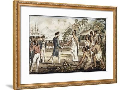 Oatehite, Illustration from 'The Voyages of Captain Cook'-Isaac Robert Cruikshank-Framed Giclee Print