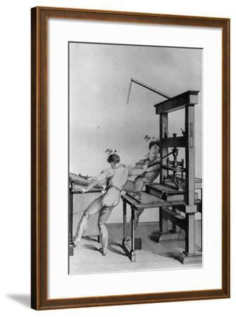 Young Blind Men Working at a Printing Press, Illustration from 'Essay on Instructing the Blind'…-Julie Ribault-Framed Giclee Print