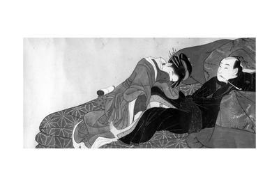 Courtesan and Client, Early 19th Century-Kitagawa Utamaro-Framed Giclee Print