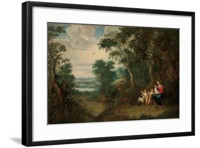 A Wooded Landscape with the Virgin and Child, Infant St. John the Baptist and an Angel-Jan Brueghel the Younger-Framed Giclee Print