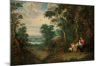 A Wooded Landscape with the Virgin and Child, Infant St. John the Baptist and an Angel-Jan Brueghel the Younger-Mounted Giclee Print